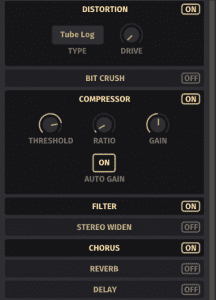 GUI screenshot of Mirage's effects rack