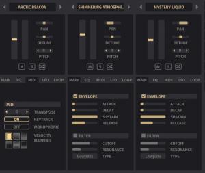 GUI screenshot of the three layers