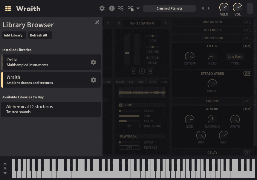 Mirage sample-based synth library browser