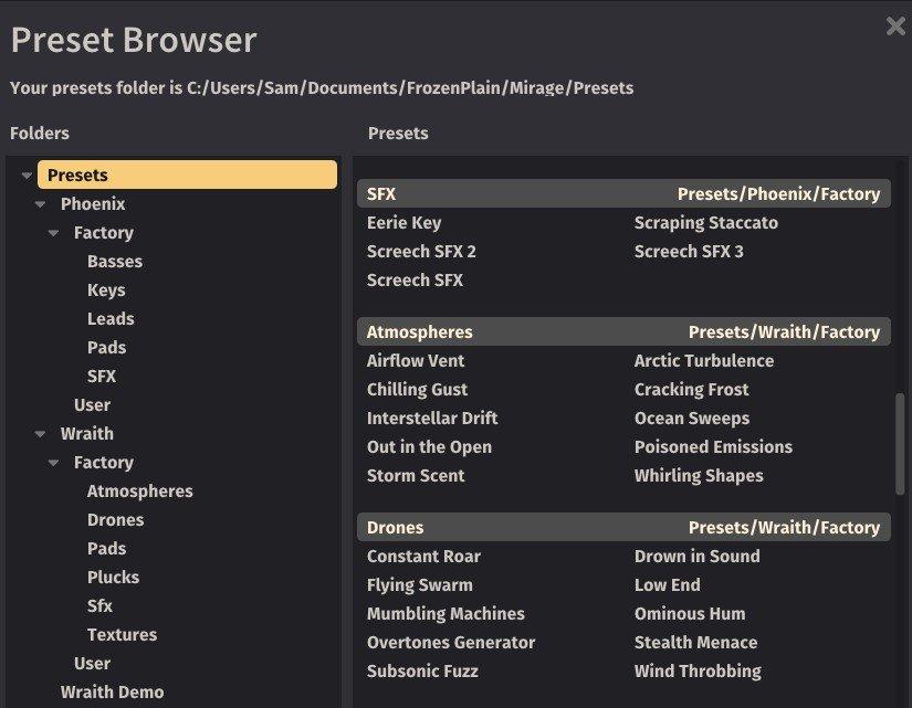 GUI screenshot of Mirage's preset browser